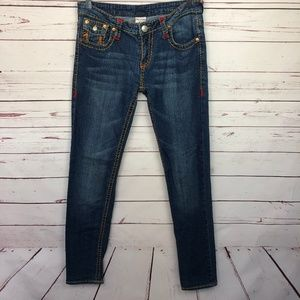 True Religion Color Stitched Skinny Jeans 30